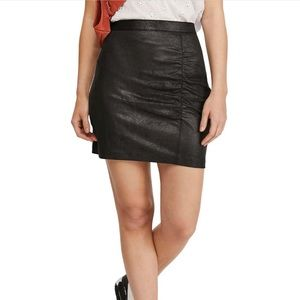Free People Ruched Faux Leather Mini Skirt Size M